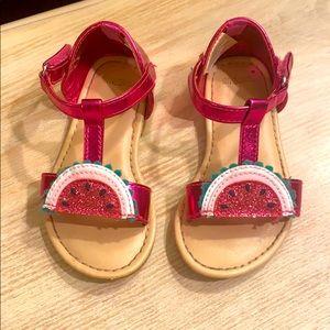 Watermelon Velcro sandals GUC Size:5